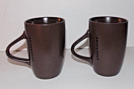 Starbucks Brown Coffee Cup Lot 11oz Mug Ceramic 2011 5in Black Text Tea Pair 2 - $9.99