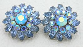 Vtg Crown Trifari Silver Tone Blue Rhinestone Flower Clip Earrings (B) - $74.25