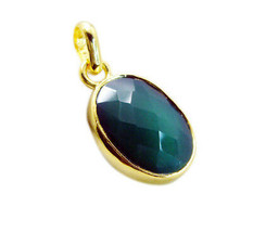 charming Green Onyx Gold Plated Green Pendant genuine jewelry US gift - $9.89