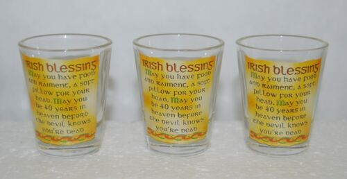 Irish Style 9707 Shot Glass 3 Set May You Have Food And Raiment Blessins