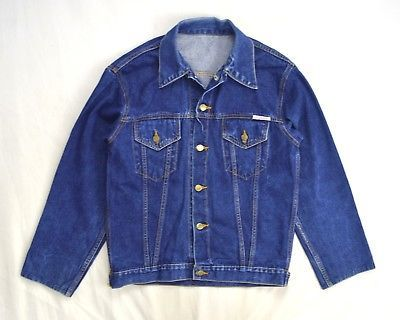 Primary image for Vtg SOUTHERN PACIFIC Railroad Train Blue Denim Jean Trucker Work Chore Jacket S