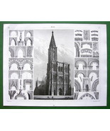STRASBOURG Cathedral France Gothic Architecture - SUPERB Antique Print - $9.45