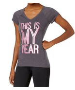 Ideology Womens This Is My Year Graphic V-Neck Mesh T-Shirt Small S Gray... - $12.00