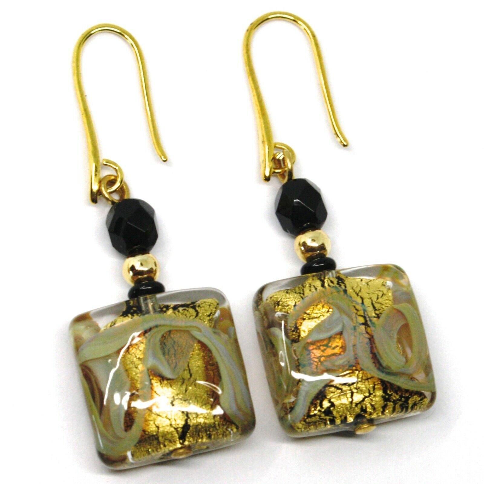 PENDANT EARRINGS WITH BLACK MURANO SQUARE GLASS & GOLD LEAF, MADE IN ITALY, 5cm
