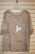 NEW WOMENS PLUS SIZE 3X 22W 24W BROWN STONE ANIMAL PRINT BOAT NECK TEE S... - $16.44