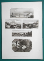 1847 Print Multiple Views - Koblenz Germany, Yorkshire, N. Wales, Richmo... - $19.80