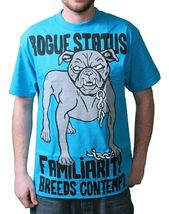 Rogue Status DTA Mens Turquoise or Black Familiarity Breeds Contempt T-Shirt NWT image 4