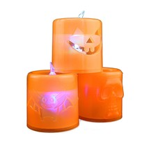 Halloween LED Tea Lights Spooky Styles Jack O Lantern Bat Skull Battery ... - $7.66+