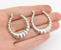 925 Sterling Silver - Vintage Shiny Fluted Design Hollow Hoop Earrings -... - $28.08
