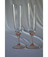 2 Crystal Champagne Flutes Pink Stem Clear Body - $14.85