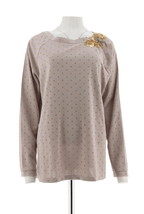 George Simonton Sequin Bead Neck Top Metallic Dusty Mauve Gold 1X NEW A2... - $33.64