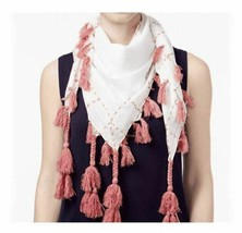 STEVE MADDEN Cotton Lawn Running Stitch Tassel Square Scarf Wrap Pareo, ... - $15.84