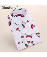 Dioufond New Floral Long Sleeve Vintage Blouse Cherry Turn Down Collar S... - $24.80