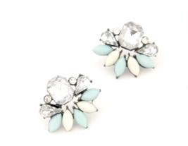 Elegant Stud Earrings In Ivory Aqua Blue & Crystal *Vintage Style* (J.Crew) - $5.99
