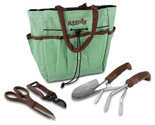 Gardening Tools For Garden, Blooms Teal Canvas 5-piece Bag Garden Tool Set
