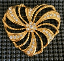 AVON Clear Rhinestone Large Gold Tone Heart Openwork Brooch Pin Vintage - $14.84