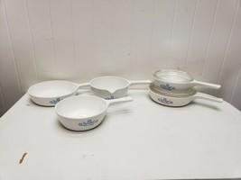 Set of 5 Corning Ware Blue Cornflower Menuette Sauce Pan Skillet P-81 P-... - $39.20