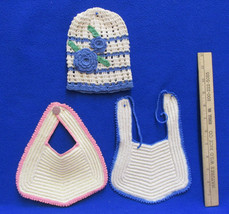 Vintage Handmade Baby Doll Bibs & Hat Knitted Blue Pink Cream Lot of 3 - $8.90
