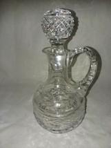ABP Cut Glass Cruet Vintage Oil or Vinegar Bottle Punty Diamond Point Bands 2 - $18.99