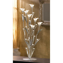 "Candle Holder 32"" Cala Lily Floral Metal and Glass Tea Light Multi-Color... - $69.95"