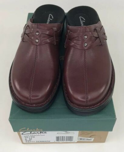 NEW Clarks Wine Red Patty Denmark Slip On Clog Shoes Size 6 IN BOX
