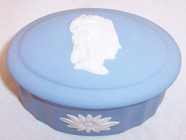 Wedgwood Blue Jasperware Small Oval Trinket Box with Lid (Sarah Wedgwood), Mint! - $24.99