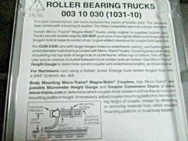 Micro-Trains Stock # 00310030 (1031-10) Roller Bearing Trucks w/o Couplers 10 PR image 3