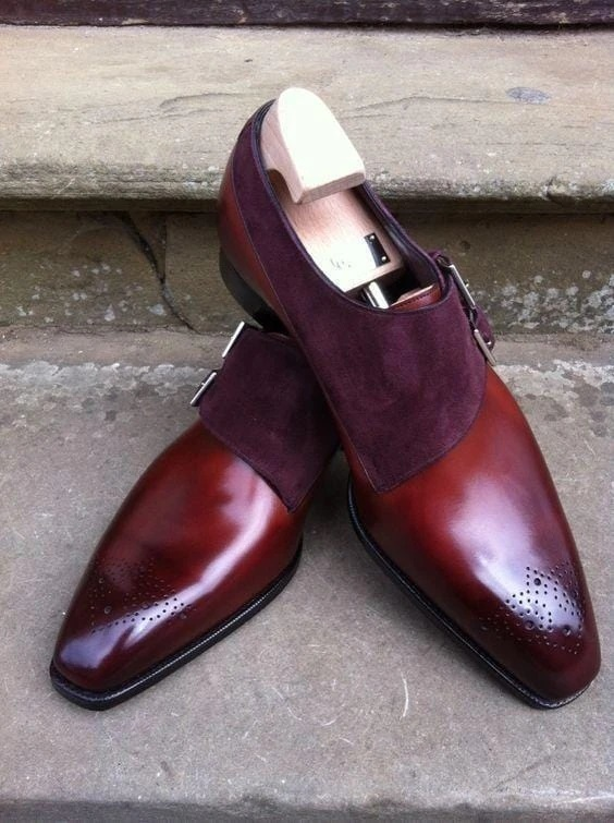 Handmade Men's Burgundy Leather & Suede Heart Medallion Monk Strap Shoes