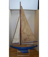 "antique wood pond sail boat 24"" L X 43"" high - $995.00"