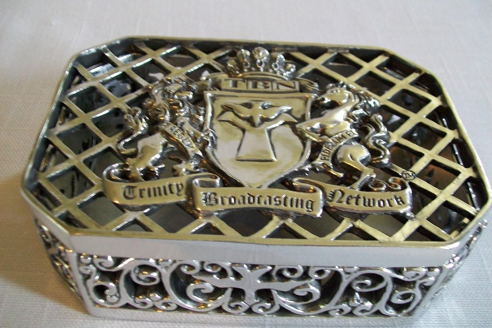 Trinity Broadcasting Networks Trinket Box Silver Tone 1973-1998