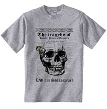 William Shakespeare HAMLET- New Cotton Grey Tshirt - $22.92