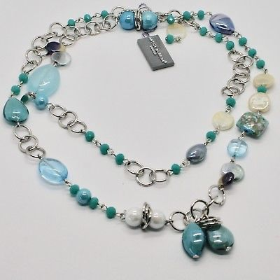 NECKLACE ANTIQUE MURRINA VENICE WITH MURANO GLASS TURQUOISE BLUE BEIGE COA79A07