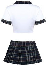 Agoky Women's School Girl Uniform Role Play Costume Outfits Crop Top with Mini P image 5