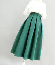 Emerald Green Midi Holiday Skirt Outfit Women Pleated Midi Skirt with Pockets image 3