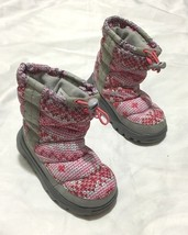 Girls Lands End Winter Boots Size 10 Fabric printed Boots Gray and pink - £14.71 GBP