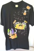 Black T-Shirt Halloween Trick Treat Glitter Pumpklins Dogs Size L Women's - $12.16