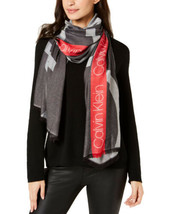 Calvin Klein Colorblocked Logo Scarf (Black/Red, One Size) - $29.60