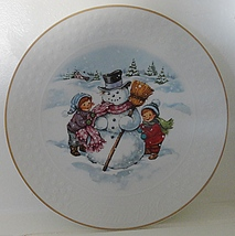 Avon A Childs Christmas Porcelain Snowman Collector Plate - $19.99