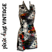 Vintage Dress Tunic Jumper Micro Top 90s Graffiti Knit Petite Mini Size ... - $23.08