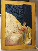 Beautiful Unique Art Piece Part Painted Mostly Silk Embroidered Deco Woman - $751.75
