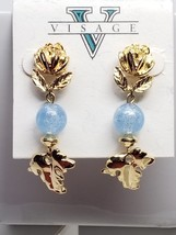 Visage Vintage Earrings Drop Blue Glass Gold Tone Flower Pierced New Old... - $16.20