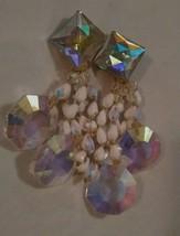 Amazing Vintage Huge 80's Iridescent Chandelier Earrings - $24.75