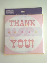 New 8 Thank You Note Cards Blank inside Heartline Div. of Hallmark Pink ... - $4.95