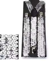 Silver Sequin Adult Men Women Suspenders Dance Costume Special Occasion NEW - $6.92