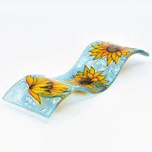 Fused Art Glass Sunflowers Flowers Wavy Decor Sun Catcher Handmade in Ecuador image 6