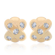 0.50 Carat Diamonds X Shape J-Hoop Earrings 14K Yellow Gold - $672.21