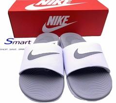 NIB SIZE 7 WOMEN Nike Kawa Logo Slides Sandals Slipper Black Metallic Re... - $34.99