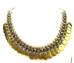 Golden Oxidized Necklace Choker Collar Matinee Boho Bib Wedding Jewelry ... - $11.87