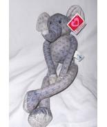 Walmart Hugfun Elephant Hanging Plush Stuffed Animal Knit Print Grey Lon... - $15.72