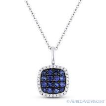 0.41ct Blue Sapphire & Diamond Square Pendant & Chain Necklace in 14k White Gold - $395.99